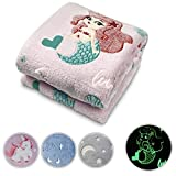 Glow in The Dark Throw Blanket Pink Mermaid Personalized Gifts for Girls Boys and Adults Cozy Super Soft Plush Fleece Throw Blanket for Everyday Use and Every Occasion (50 x 60 Inches)(Mermaid)