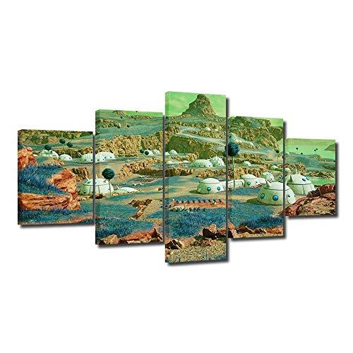 5 piezas de pintura moderna sobre lienzo de una pieza de escena para pared de dormitorio, sala de estar enmarcada, impresión sobre lienzo, para decoración de pared, listo para colgar, 100 x 55 cm