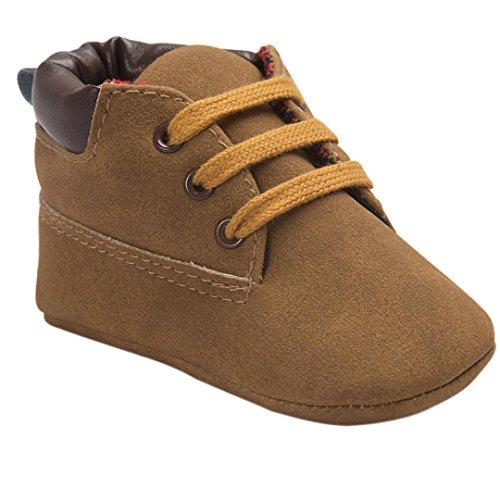 FNKDOR Baby Mädchen Jungen Lauflernschuhe rutschfest Weiche Schuhe für Neugeborene 0-18 Monate (6-12 Monate, Braun)