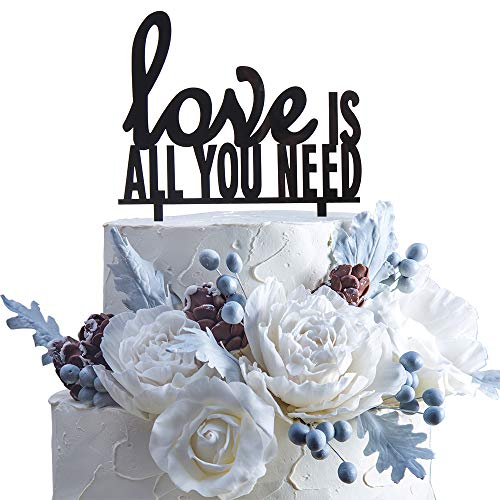 Love Is All You Need Acrylic Cake Topper Wedding Tying The Knot Party Decoration(Black).