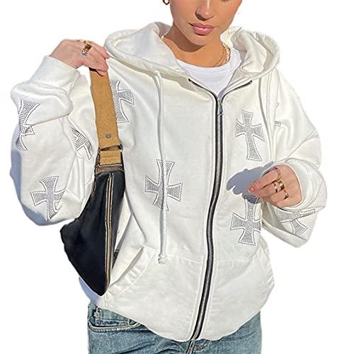 Frauen Strass Kreuzen Halloween Skelett Zip Up Hoodie Sweatshirt Y2K E Girl Oversized Hoodies Streetwear mit Taschen (a-Cross White, Small)