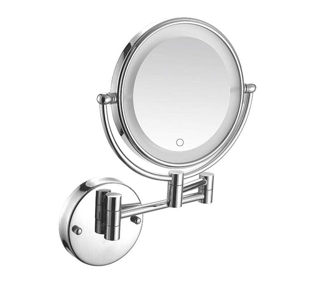 つかむ侵略童謡JLDN 壁付 化粧鏡、拡大鏡 バニティミラー バスルームメイクアップミラー 両面 折りたたみ ラウンド 360度回転 LEDライト付き、有線接続,3X