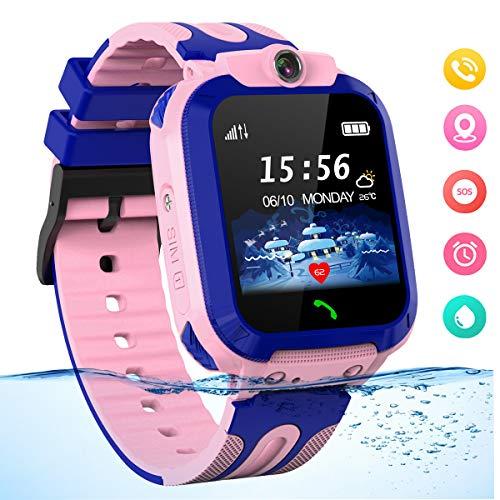 Smartwatch für Kinder Waterproof Telefon Uhr Kinder mit LBS Tracker Kids SmartWatch für 3-12ans Junge Mädchen Geschenk, Pink