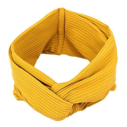TININNA Damen Frauen Winter Verdreht Stirnbänder Gestrickt Kopfband Haarband Bogen Turban Stirnband Ear wärmer Haar Bande Gelb EINWEG Verpackung