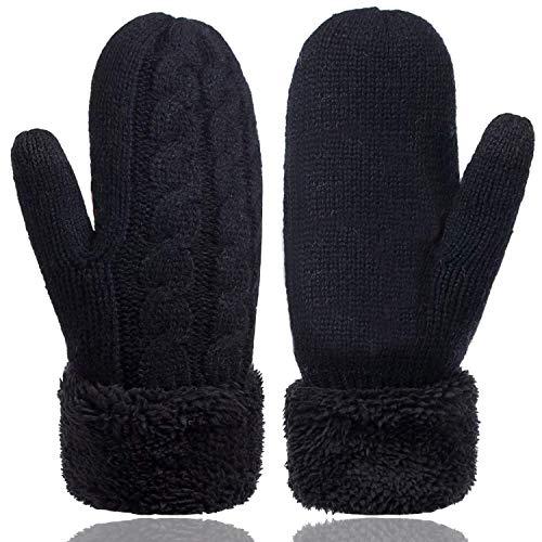 ATIMIGO Damen Winterhandschuhe, warmes Futter, gemütliche Kint-Fäustlinge, Dicke Wolle, Fäustlinge für kaltes Wetter, Einheitsgröße