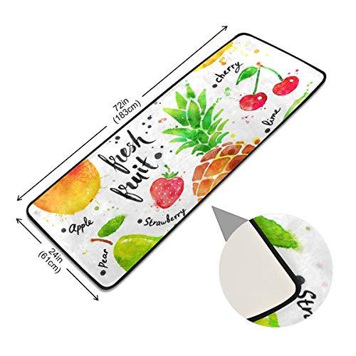 XiangHeFu Vloerkleed voor de gang, antislip, vloerbedekking, anti-slip voetmat, kleurrijke vruchten, kiwi, ananas