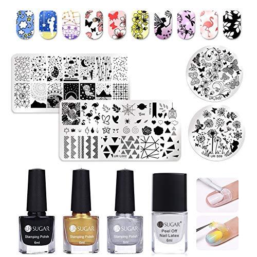 UR SUGAR Nail Art Stamping Kit -4Pcs Stamp Template Image Plates,1Pc Liquid Tape Latex,3 Bottls...