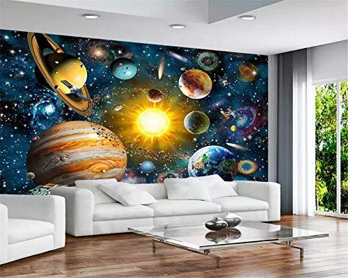 3D Fototapete Cartoon Weltall Sternenhimmel Kinderzimmer Wandbild Hintergrundbild Tapete 350x256cm
