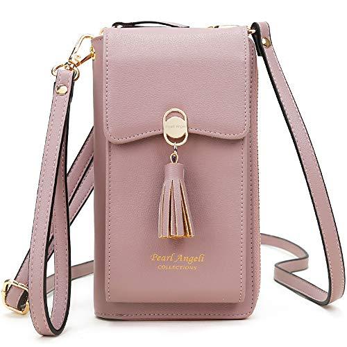 Pearl Angeli RFID Schutz Handy Brieftasche Frauen Kreditkarte Kunstleder Geldbörse mit Tessel Damen Schulter Handytasche für Frauen (Rosa)