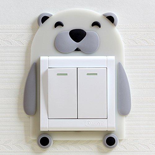 Meijin Pegatina luminosa de dibujos animados con interruptor de enchufe de protección para habitación de los niños, etiqueta engomada luminosa de la decoración del hogar (Color: