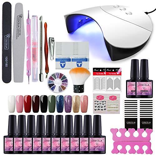 Saint-Acior Gellack uv Farben Set 36W UV-LED Nagellampe Starterset für Gelnägel uv Gel Nagellack...