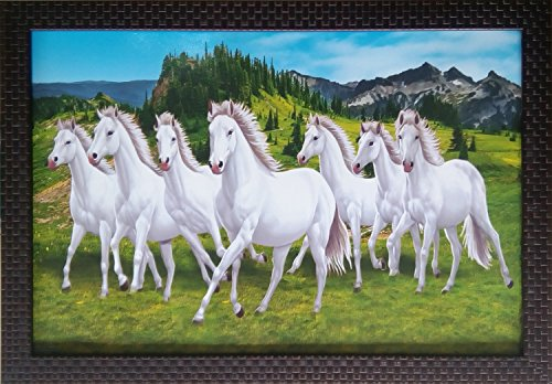 Shree Handicraft Seven (7) White Running Horses Photo Frame (49 cm x 34 cm x 1 cm, UV Print Without Glass)