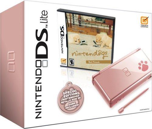 Nintendo DS Lite Metallic Rose with Nintendogs Best Friends (NDS Pink Bundle) (Renewed)