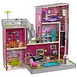 KidKraft 65833 Maison de poupée Uptown en bois avec meubles et accessoires inclus Ensemble de jeu à 3 étages pour poupées de 30cm