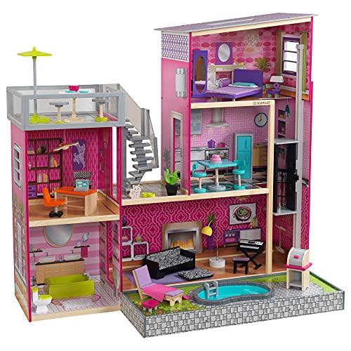 KidKraft 65833 Casa delle bambole in legno Uptown per bambole di 30cm con 36 accessori inclusi e 3 livelli di gioco