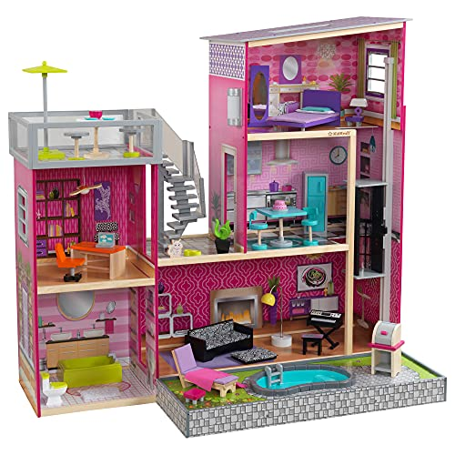 KidKraft Uptown Wooden Modern Dollhouse with Lights & Sounds, Pool and 36 Accessories ,Gift for Ages 3+