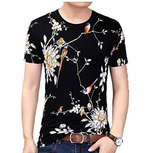 CZPF Mannen Compressie Shirt korte mouwen T-Shirt Persoonlijkheid Inkt Schilderen Bloem en Vogel Print Persoonlijkheid Half-Sleeved Shirt