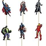 24 Palillos para decoración de Cupcakes de Los Vengadores y Superhéroes