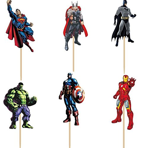 Bling Story Pack of 24 The Avengers and Superheros Cupcake Topper...