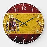 Promini Reloj de pared con diseño de bandera de España, color negro, estilo vintage, 30 x 30 cm