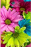 2021 Planner: Flowery 2021 planner, organizer, diary, hourly, weekly, monthly diary, journal, plan each day 8am to 6pm, reach your goals, calendar, A5, notebook, checklist, inspirational