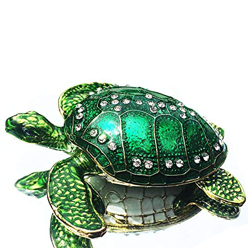 Waltz&F Sea Turtle Crystal Studded Pewter Jewelry Trinket Box Bejeweled Hand-painted Ring Holder