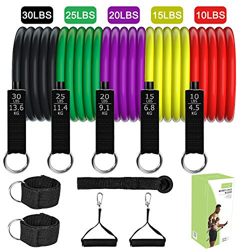 TOPLUS Resistance Bands Set - 5-Piece Exercise Bands for Working Out - Portable Home Gym Accessories, Resistance Bands with Handle - Perfect Muscle Builder for Arms, Back, Leg, Chest, Belly