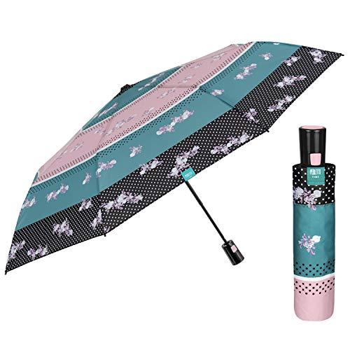 Paraguas Plegable Mujer con Apertura Automática - Sombrilla Lluvia Mini Coloreado con...