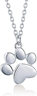 Plata de Ley 925 Collar Huella de Perro Pequeño Gato Largo Joyeria para Mujer Niñas, 45 + 5 cm
