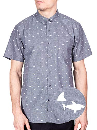 Visive Hawaiian Shirts for Men Short Sleeve Button Down Up Mens Shirt - Charcoal Shark - 4XL