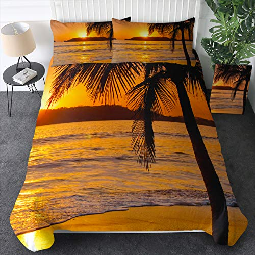 Sleepwish Palm Tree Bedding Ocean Sunset Duvet Cover Orange Yellow Tropical Beach Bed Set Bedspreads King Size