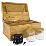 Upper Room Large Smell Proof Bamboo Stash Box Combo Kit with Accessories Includes Rolling Tray, Herb Grinder, 2 Airtight Glass Jars, Wooden Storage Box, Strong Hinges, Magnetic Lid, Removable Dividers, 10'x 7'x 5'