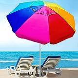 AMMSUN Beach Umbrella, 6.5ft air vented with Push Button Tilt steel Pole, Portable UV 50+ Protection Beach Umbrella with Carry Bag for Patio Garden Beach Pool Backyard, Rainbow