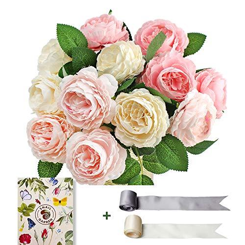 SnailGarden Ramo de Flores Peonía Artificiales Vintage de Seda para Novia, Boda, Fiesta, Festival, Arreglos Florales (Rosa Profundo/Rosa/Blanco, 4 Unidades Cada Uno)