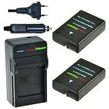 2x Batería + Cargador ChiliPower Nikon EN-EL14, EN-EL14a 1250mAh para Nikon Coolpix P7000, P7100, P7700, P7800, DSLR D3100, D3200, D5100, D5200, D5300, Nikon Df