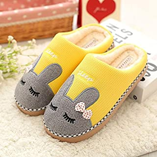 YANGLAN Red slippers cotton slippers female couple married autumn and winter heavy-bottomed warm wool slippers home indoor soft bottom men Household slippers (Color : E, Size : (38~39))