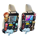 """Car Backseat Organizer for Kids Kick Mats Car Seat Organizer Protector Travel Accessories Waterproof and Durable with 10"""" Touch Screen Tablets Holder and 10 Storage Pockets for Toys Drinks Books 2 Pack"""