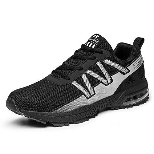 Straßenlaufschuhe Herren Damen Laufschuhe Fitness Turnschuhe Sneakers Air Sportschuhe Running Shoes(8901-2Schwarz,43EU)