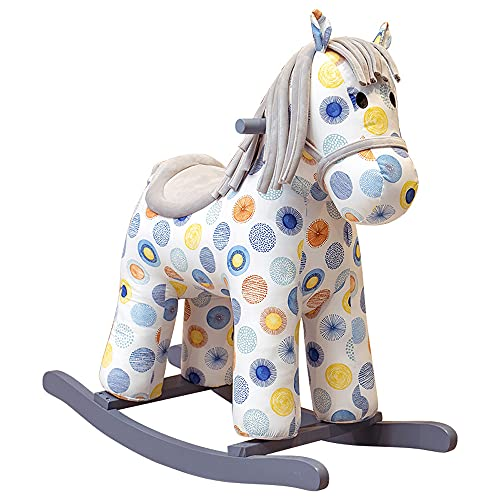 Tritow Rocking Horse Wooden Rocking Chair Baby Pony Ride On Toys Plush Comfortable Seats Kids Plush Rocking Horse Infant (Boy Girl) Plush Animal Rocker For Toddlers 2-5