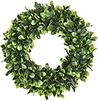 Sunm Boutique Boxwood Wreath, 15'' Artificial Wreath Outdoor, Green Leaves Wreath Round Wreath for Front Door Hanging...