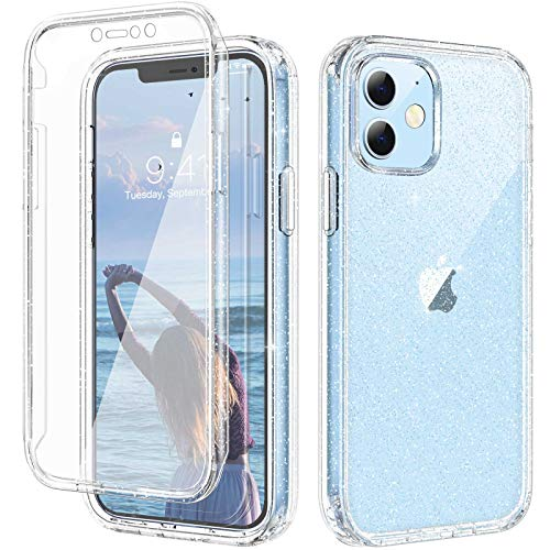 Diaclara Glitter Case Compatible with iPhone 12 Mini 5.4 inch with [Built-in Screen Protector] Full Body Protection Rugged Bumper Case Sparkle Bling Case for Women Girl [Athena Series]