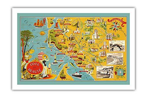 Pacifica Island Art - Côte de Beauté - Côte sud-Ouest de la France - Carte illustrée de Lucien Boucher c.1940 - Giclée Imprime - 61 x 91 cm