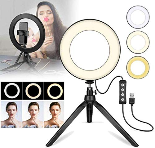 AJH Ring Light con Soporte y Soporte para teléfono, Kits de luz...