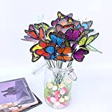 Butterfly Ornaments for Garden Decor, Waterproof 3D Yard Planter Flower Outdoor Decorations Including 18pcs Butterfly Stakes & 6pcs Dragonfly Stakes