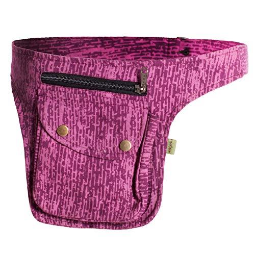 Vishes - Gestreifte Gürteltasche aus Baumwolle - Bedruckt rosa-rot