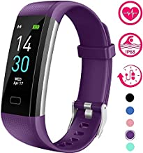 Vabogu Fitness Tracker HR, with Blood Pressure Heart Rate Monitor, Pedometer, Sleep Monitor, Calorie Counter, Vibrating Alarm, Clock IP68 Waterproof for Women Men (Purple)