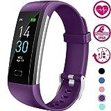 Vabogu Fitness Tracker HR, with Blood Pressure Heart Rate Monitor, Pedometer, Sleep Monitor, Calorie Counter, Vibrating Alarm, Clock IP68 Waterproof for Women Men (Purple)