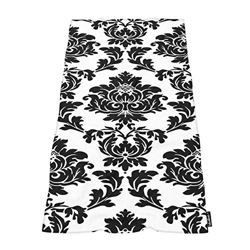 Moslion Soft Bath Towels White Black Damask Flower Floral Comfy Bathing/Beach/Camping Towel for Women Men Girls Boys Large Size 64x32 Inches