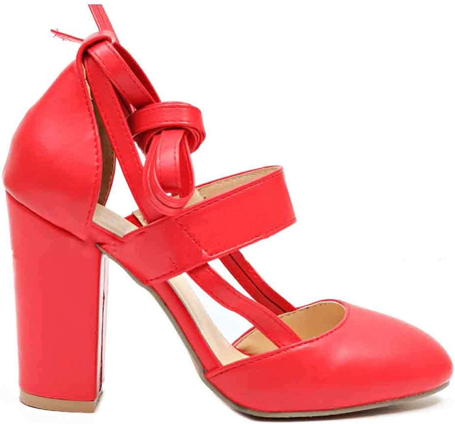 Fulision Female Solid color Round Toe Back Strappy Thicken High Heeled shoes