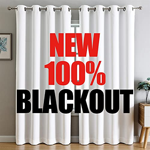 G2000 100% Blackout Curtains for Bedroom Living Room Curtains 84 Inches Long White Curtains Room...